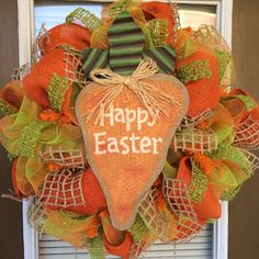 Burlap Carrot Easter Door Wreath by SouthernWreathDesign on Etsy, $95.00