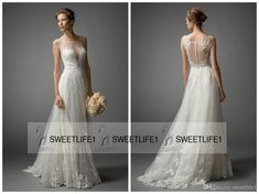 2016 New Arrival Watters A Line Sheer Wedding Dresses With Sexy Scoop Neck Sleeveless Lace Appliques Vintage Bridal Gowns Button Back Gorgeous Wedding Dresses Lace Gowns From Sweetlife1, $117.28  Dhgate.Com