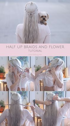 Half up braids and flowers tutorial