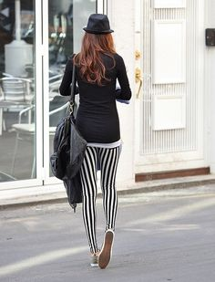 Black and White Vertical Stripe Leggings Style And Grace, Style Me, Street Chic, Street Style, Animal Print Pants, Leopard Pants, Polka Dot Pants, Floral Pants, Striped Leggings