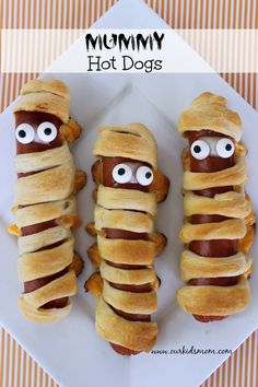 """Mummy Hot Dogs"". A delightful party food idea!"