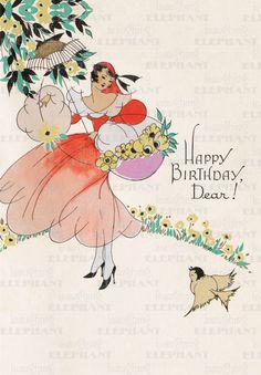 happy birthday vintage greeting card