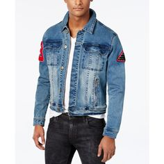 Black Pyramid Men's Cocktail Graphic-Print Denim Jacket ($148) ❤ liked on Polyvore featuring men's fashion, men's clothing, men's outerwear, men's jackets, navy, mens denim jacket, mens light weight jackets, mens jean jackets and old navy mens jackets