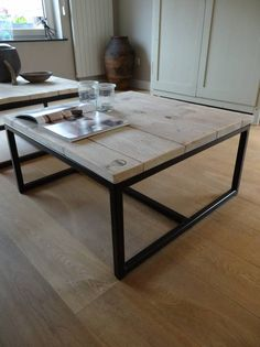 PURE salontafel steigerhout/stalen onderstel open - PURE Wood Design