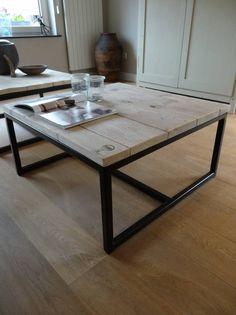 PURE wood design PURE industriele salontafel steigerhout/staal open - PURE Wood Design