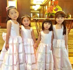 My adorable flower girls : Ella,Bella, Saab and Sobie. #flowergirls #pinkgowns #pearlheadpiece