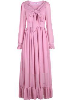 Pink Long Sleeve Pleated Chiffon Dress - Sheinside.com