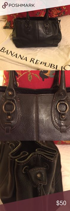 "Banana Republic Black Leather Purse Black leather with brown stitching. 1 large and 2 small interior pockets. One brass button missing (see pix) but not really noticeable. In great shape. No tears or stains. Ties on side. Magnetic closure. Leather handles are 7 1/2"" drop. Bag measure 17"" W x 9 1/4"" W x 6 1/2"" D. Antique Brass hardware. Banana Republic Bags Satchels"