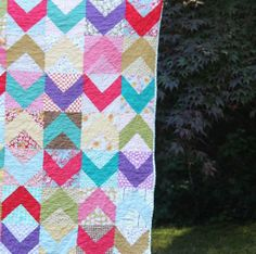 40's Inspired Chevron Scrap Quilt (Link to Free Pattern) -- making a quilt out of the custom made dinner napkins