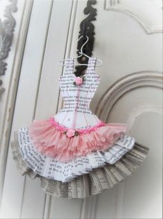This adorable ballet style dress miniature is made from paper back novel, phone book pages and crepe paper. It is carefully stitched in pink cotton Ballerina Birthday Parties, Ballerina Party, Ballerina Dress, Paper Art, Paper Crafts, Diy Crafts, Dance Crafts, Dress Card, Ballet Fashion