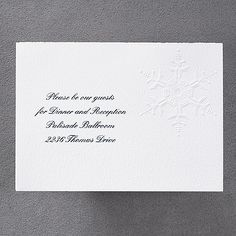 Winter Dreams - Reception Card A bright white card with embossed snowflakes. Ideal for winter receptions and holiday parties.