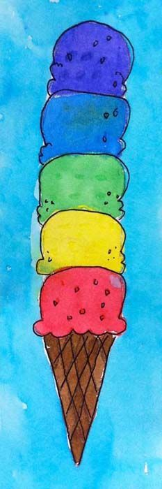 Paint tall! Ice Cream Cone Watercolor Painting. by Art Projects for Kids.