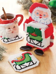 Get ready for the holiday crowd by stitching 7 festive coaster sets. Each set is stitched on 7-count plastic canvas and includes a coaster holder and 6 coasters. Designs include: Snowman, Santa, Pilgrim, Witch, Uncle Sam, Bunny and Leprechaun.