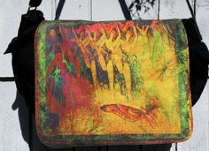 Laptop Bag  YES I CAN CAN  Messenger Bag  Fits 13 by floorartetc, $75.00