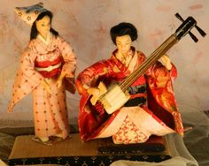 OOAK set of two porcelain Japanese  dolls by whispersofdolls