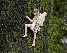 Fairy Garden Izzie climbing tree, hugger, miniature garden accessory, accessories, brown hair, mini garden supply, pink, cute fairy