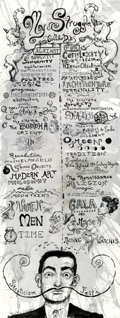 My Struggle - Salvador Dalí's Credo, Illustrated by Molly Crabapple. S)