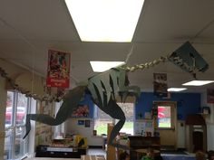 PreK students  their teachers at the Orchards KinderCare in Vancouver, WA created a dinosaur skeleton for their classroom museum. They made it all out of cardboard  egg cartons. Very impressive. #preschool #kids #prek #kindergarten #dinosaur #display #creative #museum #KinderCare #Vancouver #Washington #earlylearning #science #kids #children #school #class #classroom