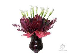 Beautiful Flower Arrangements, Beautiful Flowers, Calla Lilies, Tropical Leaves, Blossoms, Orchids, Burgundy, Lily, Plants