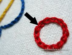 Chain Stitch around a Circle - from Mary Corbet's Needle 'n Thread