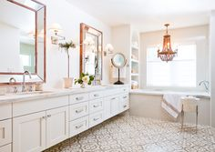 Jaimee Rose Interiors used our Normandy cement tile in her renovation of this master bathroom.  Tiles in stock & available here: https://www.granadatile.com/shop/en/web/item/80000310-1298321478Jaimee Rose Interiors