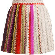 MISSONI Pleated Mini Skirt ($373) ❤ liked on Polyvore featuring skirts, mini skirts, pink skirt, mini skirt, flared skirt, short mini skirts and missoni skirt