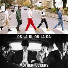 —Oigan Beatles, los de One Direction están cruzando Abbey Road.