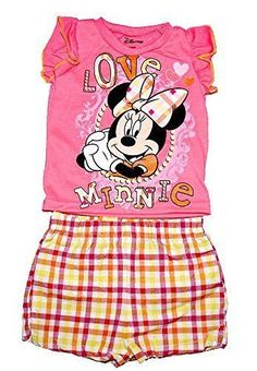 Disney Minnie Mouse Baby Girl T Shirt & Plaid Short Pants Outfit - Pink Yellow