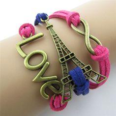 LOVE Eiffel Tower Multielement Color Fashion Bracelets