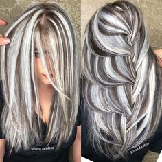 Pin on Pelo con mechas Pin on Pelo con mechas Perfect Hair Color, Hair Color And Cut, Cool Hair Color, Gray Hair Highlights, Lowlights For Gray Hair, Heavy Highlights, Dimensional Highlights, Great Hair, Pink Hair