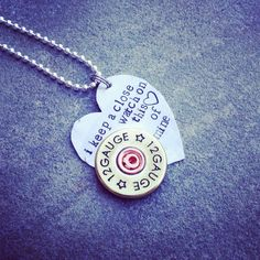 """Hand Stamped Johnny cash """"I keep a close watch on this heart of mine"""" necklace with riveted shotgun shell accent  on Etsy, $31.00"""