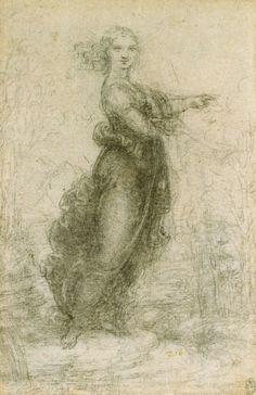 Leonardo da Vinci - A woman in a landscape, ca. 1517/18 - Royal Collection Trust, Windsor. High Renaissance.
