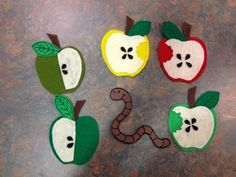 """Apples by Busy Crafting Mommy; Five Little Apples  (to the tune of Teasing Mr.  Crocodile)    Five little apples hanging in a tree (hold up 5 fingers)  Teasing Mr. Slinky Worm """"you can't eat me!""""  (wiggle pointer finger to be worm)  Along comes Mr. Slinky Worm quiet as can be…  And… CRUNCH! (clap hands)    Repeat with 4, 3, 2, 1, little apples.  No more apples hanging from the tree!"""