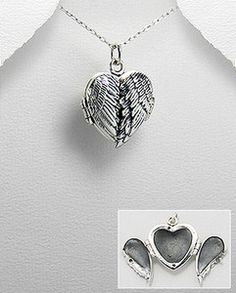 LOVE LOVE LOVE  Sterling Silver 925 stamped heart pendant locket angel wings. with chain | eBay