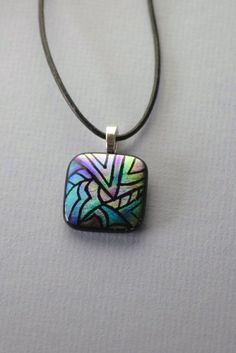 Handmade purple, green, blue, aqua engraved dichroic glass necklace  | GrapevineGlassArt - Jewelry on ArtFire