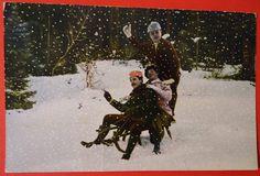 Crazy Sledding Party Colored Photo Postcard cira 1917 Snow