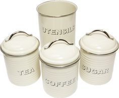These Cream Tea Coffee Sugar Canisters and matching utensils holder set is a must have kitchen essential. Utensil Holder, Utensil Set, Cake Storage, Tea Coffee Sugar Canisters, Cream Tea, Tea Box, Pot Sets, Kitchen Gadgets