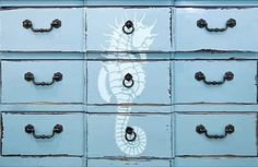 Stenciled dresser with seahorse: http://www.completely-coastal.com/2014/02/nautical-beach-stencils-decorating.html