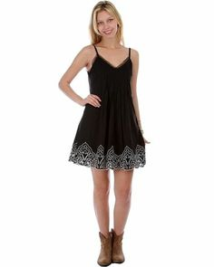 BLACK SPAGHETTI STRAP SHORT SUN DRESS EMBROIDERED CUTOUT BOTTOM HEM S M L