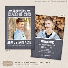 Senior Graduation Announcement Template for Photographers PSD Flat card chalkboard chevron. $7.00, via Etsy.