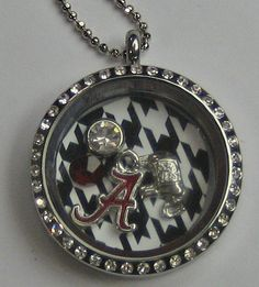 Alabama Houndstooth Memory Locket Jewelry by PSJewelryDesigns, $20.00