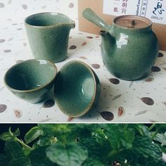 I'm used to brewing tea in a gaiwan but all my gaiwans are rather big so it's not so convenient when brew only for myself. Because of this I decided to buy new small teaset with teapot 🍵🌿 New season, new teaset. Chinese Tea, Brewing Tea, Moscow Mule Mugs, Tea Set, Tea Time, Mint, Leaves, Ceramics, Spring