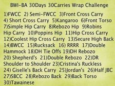 Wrap carries for the 30 day challenge