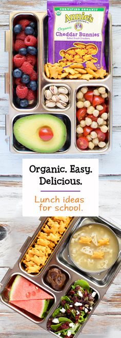 Organic, easy, AND delicious! Back to school lunch packing can tick all three boxes. Just add Annie's Organic Soup in a thermos for a cozy lunch on a chilly day, or try tossing in a pouch of Annie's Organic Cheddar Bunnies for a snackable lunch they won't Lunch Snacks, Healthy Snacks, Healthy Recipes, Lunch Box, Baby Food Recipes, Cooking Recipes, Little Lunch, Organic Soup, Kid Friendly Meals