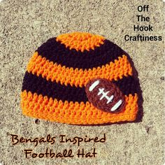 Bengals Inspired Football Hat https://www.facebook.com/OffTheHookCraftiness