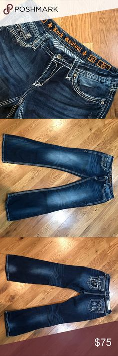"""Women's Rock Revival Jeans Size 31 Women's Rock Revival Buckle Jeans Size 31 Kai Boot Cut Great Condition. Inseam 30"""" some wear on bottom of pant cuffs. Preciously Owned. Rock Revival Jeans Boot Cut"""