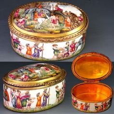Antique Rudolstadt Porcelain Hand Painted Snuff Box, Gilt Interior