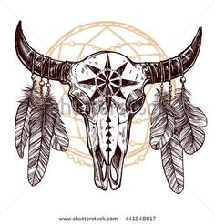 Boho Buffalo Skull With Feathers And Dreamcatcher. Hand Drawn Sketch ...