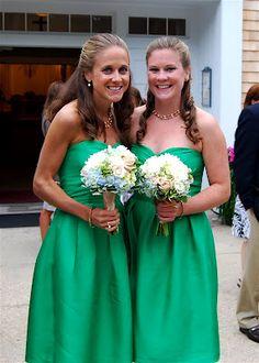 Emerald green dresses. Coren Moore.