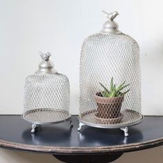 Cloche Style Wire Mesh Candle Lanterns